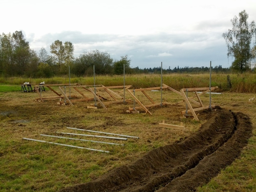 The array at the end of Day 1. Poles in concrete, trench dug.